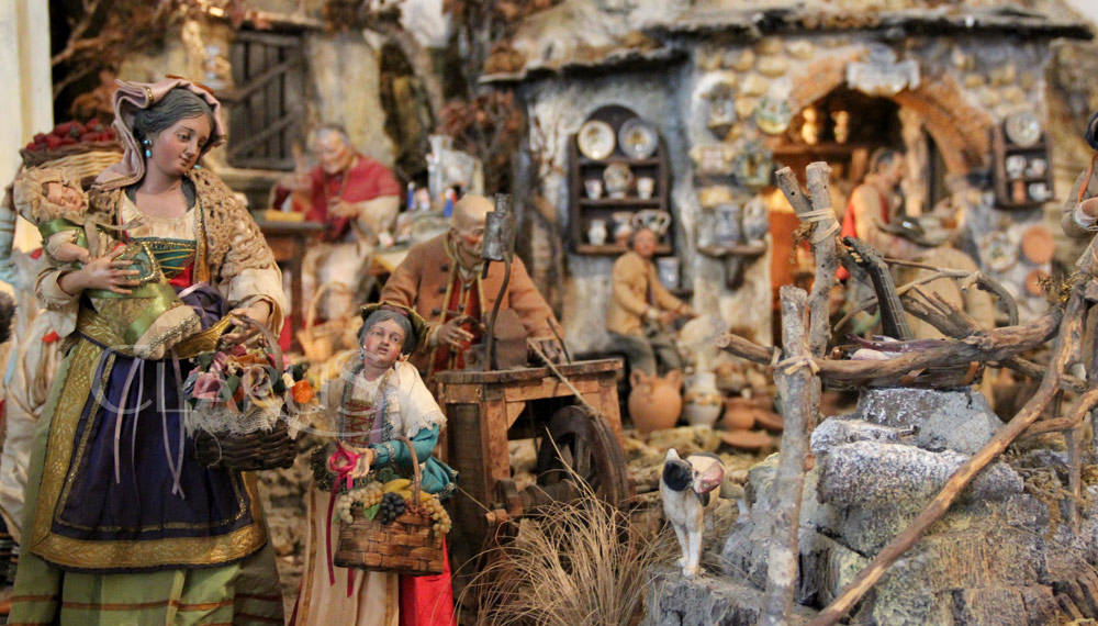 nativity scenes and Christmas lights